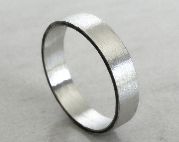 Sterling Silver Wedding Band in a Brushed Finish, Modern Alternative Wedding Ring for Men and Women