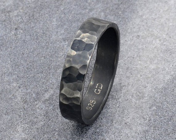 Unique Men's Ring - Oxidized Sterling Silver Hammered Ring