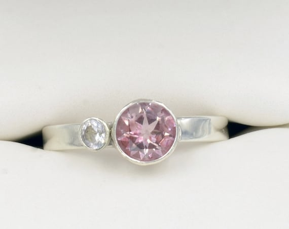 Sterling Silver Pink Gemstone Ring  - Alternative Engagement Ring - Genuine Round Topaz Pink and White Two Stone Promise Ring Gift for Her