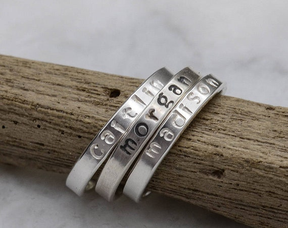 Personalized Hand Stamped Silver Ring - Name Ring - Mothers Ring - Stacking Ring - Stackable Stamped Name Rings - Gifts Under 25.00