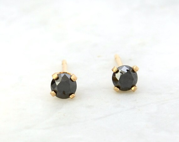 Tiny Black Diamond Stud Earrings in 14k Gold - 3mm Black Diamonds and Yellow Gold - Small Post Earrings - Minimalist Jewelry - Gift for Her
