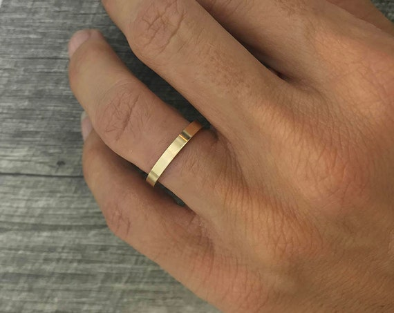 2mm Gold Ring - Recycled 14k Yellow Gold Wedding Band Anniversary Band Stacking Ring Eco Friendly Women's Gold Ring