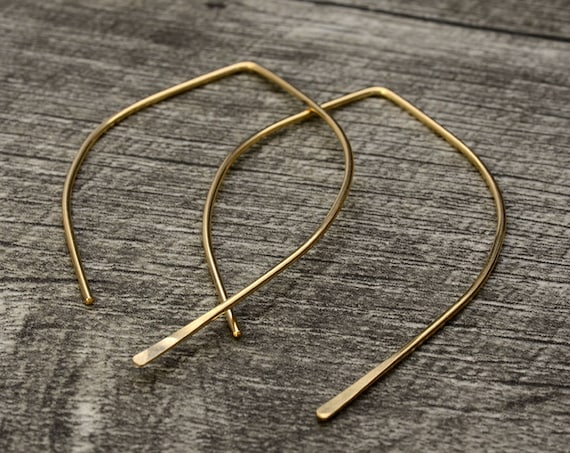 Wishbone Earrings - Solid Gold Threader Earrings - Open Hoop Ear Threads -  14K Rose Gold Hoops - 14k Yellow Gold Earrings