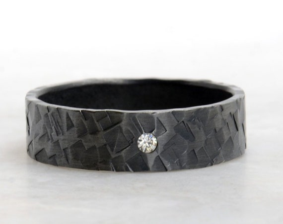 Men's Black Wedding Band set with a 2mm White Diamond