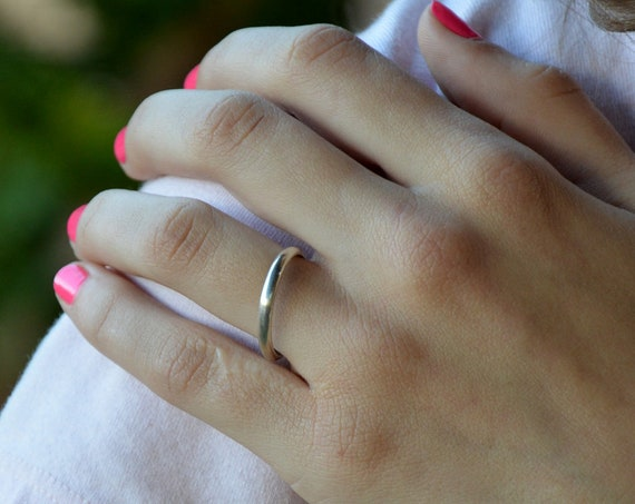 Minimalist Ring Sterling Silver Half Round Ring Band Eco Friendly Argentium Silver Simple Wedding Band  Silver Stacking Ring Gift for Women