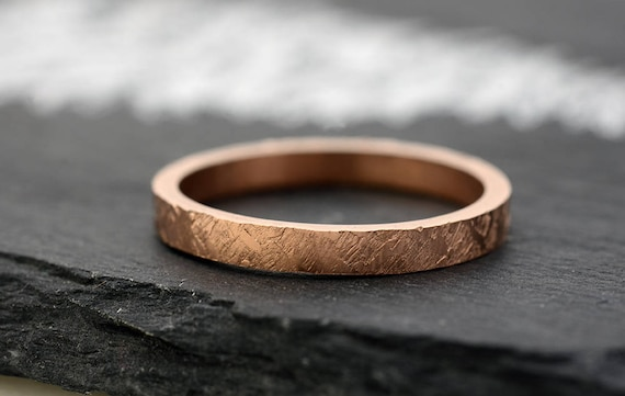 Rose Gold Wedding Band for Women Hammered Engagement Ring in 14k Rose Gold or White Gold Ring - Yellow Gold Ring Stacking Rings -