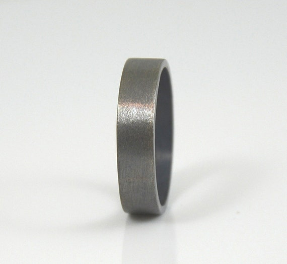 Men's Ring - Brushed Sterling Silver Wedding Band for Men - Wide Ring Band - Black Wedding Ring Unique Wedding Ring Made in your size