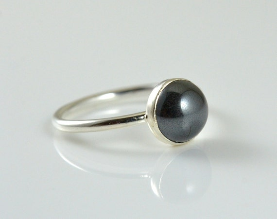 Real Black Onyx Silver Gemstone Ring - 2ct Cocktail Ring - Stacking Ring - Gift for Her - Statement Ring in Highly Tarnish Resistant Silver