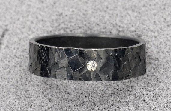 Men's Black Wedding Band set with a 2mm White Diamond