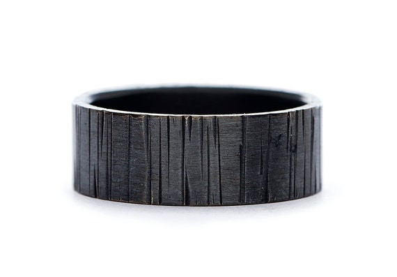 7mm Mens Black Wedding Band in Sterling Silver - Black Tree Bark Ring - Handmade Forged Wedding Bands for Men - Great Gifts for Guys