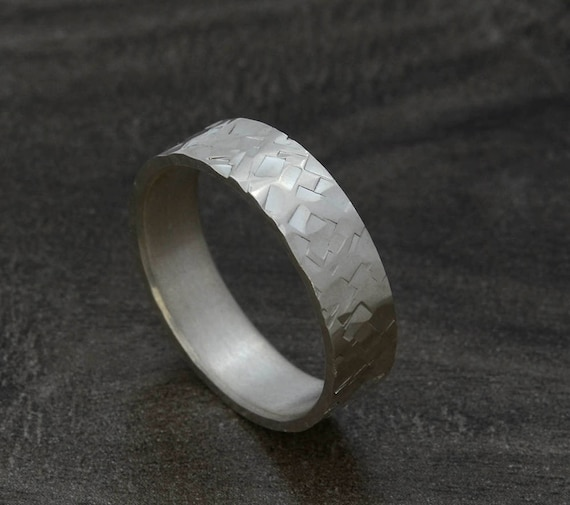 Hammered Men's Wedding Ring Band -  7mm Sterling Silver Wedding Band in Recycled Metal - Rustic Wedding Rings for Men and Women