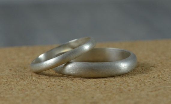 His and Hers Wedding Bands Recycled Silver Wedding Rings made in Argentium Sterling Silver Half Round Ring Band Set Eco Friendly