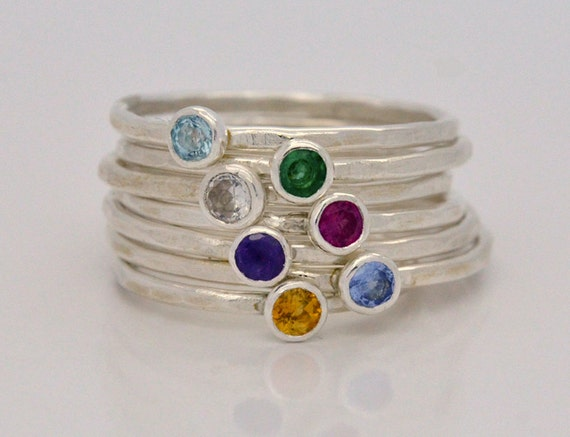 Custom Stacking Birthstone Ring - Hammered Sterling Silver Stack Ring - Personalized Birthstone Jewelry - Personalized Jewelry Handmade Gift
