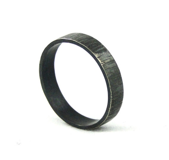 Bark Textured Ring Sterling Silver Ring Band Black Wedding Band Rustic Hammered Ring Made in your size