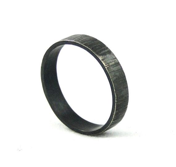 Bark Textured Mans Wedding Band in Sterling Silver - Black Hammered Wedding Ring