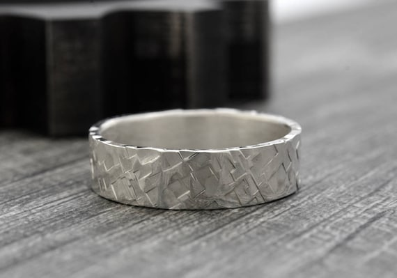 Recycled Mens Wedding Ring in Sterling Silver 6mm Hammered Wedding Band Rustic Wedding Rings for Men