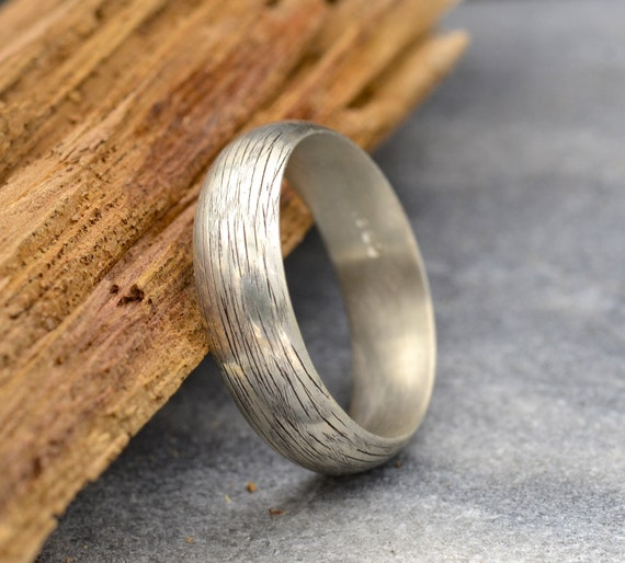 Bark Textured 6mm Sterling Silver Half Round Wedding Band
