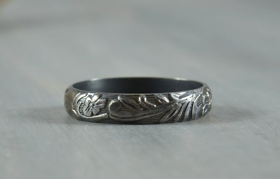 Black Wedding Band for Men or Women - Oxidized Sterling Silver Floral Wedding Ring - Made in your size