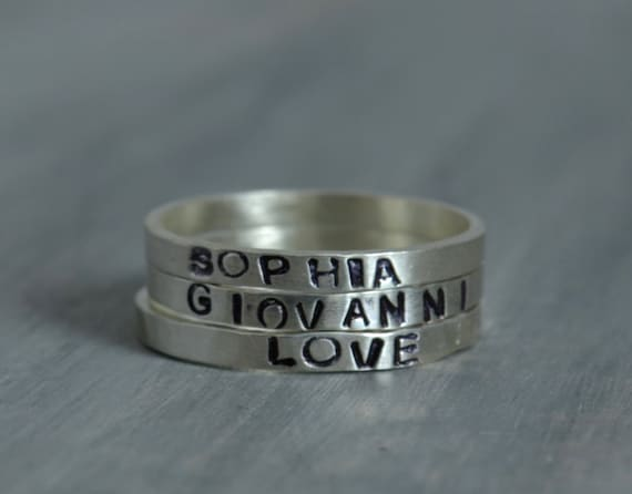 Personalized Stacking Rings - Hand Stamped Sterling Silver Name Date Initial Ring