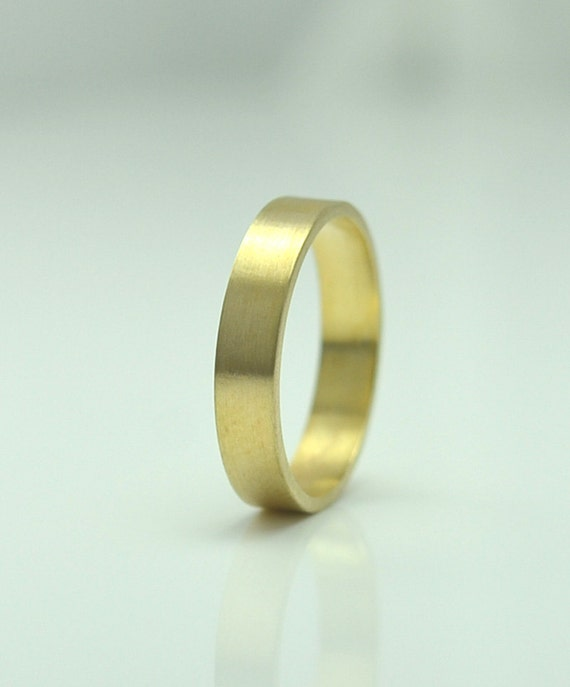 Mens Gold Wedding Band - Simple 4mm Wedding Ring in 14K Yellow Recycled Gold