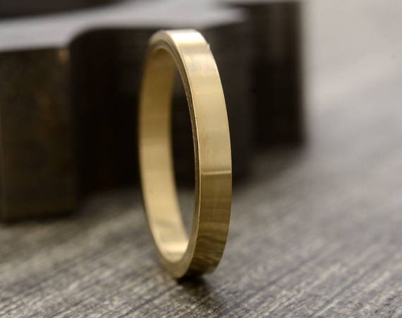 Women's Gold Ring - 14k yellow gold Wedding Band Anniversary Band Stacking Rings - 2mm Ring in Recycled Gold