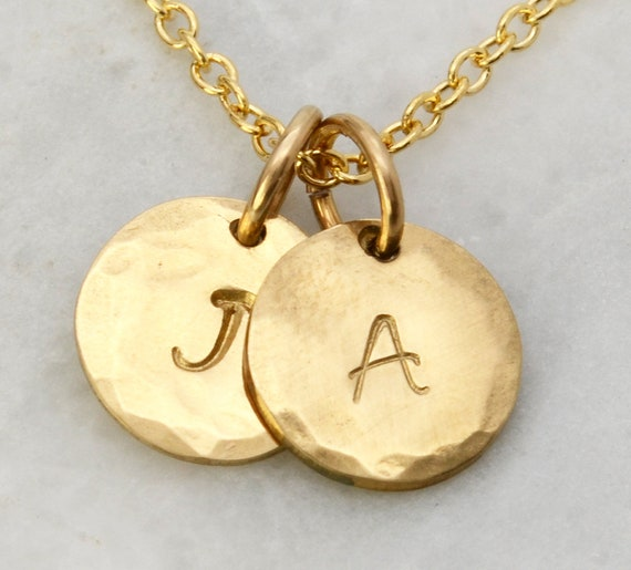 Solid Gold Initial Necklace - Custom 14k Yellow Gold Personalized Initial Pendant