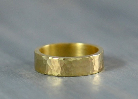 Eco Friendly Gold Ring - Men's Wedding Band, 5mm Hammered Rustic Ring Wedding Bands for Men