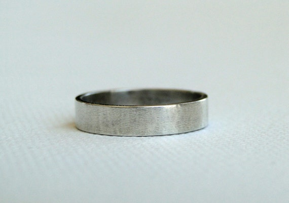 Sterling Silver Ring - Brushed Silver Wedding Band for Man or Woman