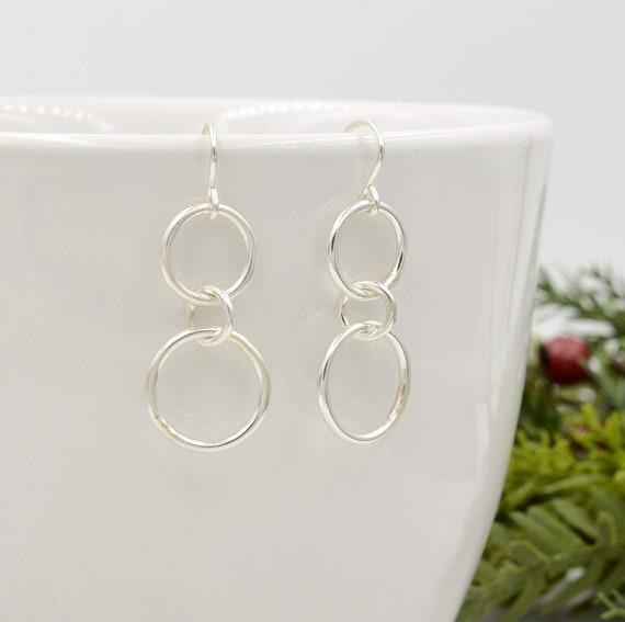 Dangle Earrings in Sterling Silver, Mini Circle Earrings, Silver Drop Earrings, Gifts for Her