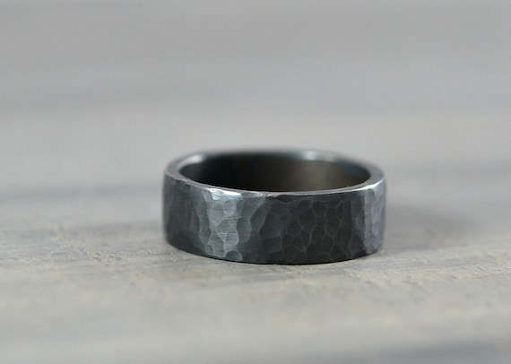 Sterling Silver Mens Wedding Bands - Hammered Ring - 7mm Textured and Oxidized Sterling Silver Band - Handmade Wedding Ring for Men