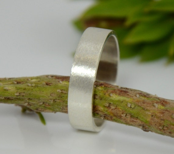 Men's Sterling Silver Ring - 5mm Wide Sterling Silver Ring Band - Wedding Band  - Made in your size