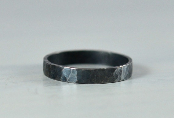 Sterling Silver Hammered Wedding Ring 3mm Hammered Wedding Band Oxidized Black Finish