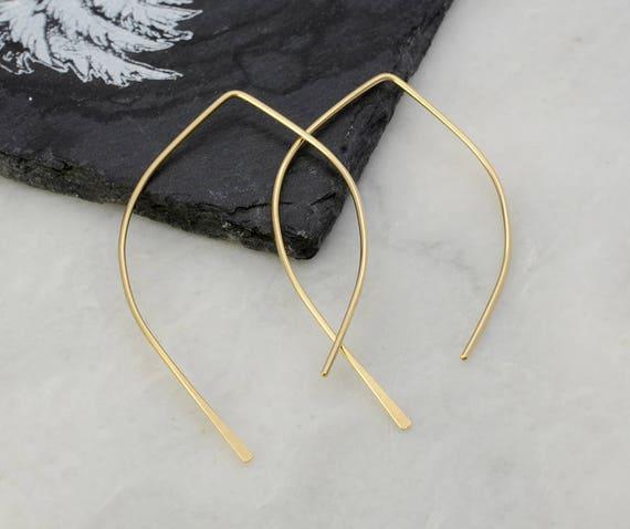 Gold Open Hoop Earrings- Wishbone Earrings - Threader Earrings - 14K Rose Gold Hoops - Yellow Gold Hoops Dangle Earrings