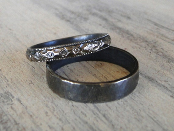 Sterling Silver Rings His and Hers Wedding Rings Black Diamond Patterned Ring Band and Hammered Sterling Silver Ring Band
