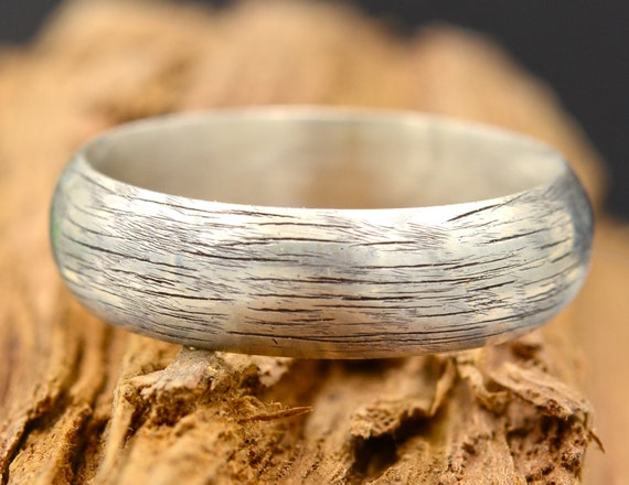 6mm Silver Half Round Tree Bark Wedding Band