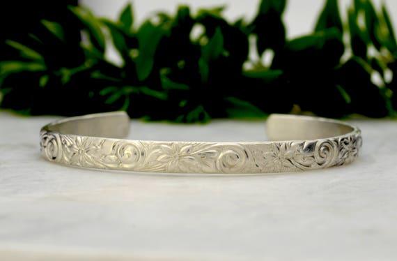 Silver Cuff Bracelet - Sterling Silver Bracelet - Wide Cuff Bracelets for Women Floral Pattern