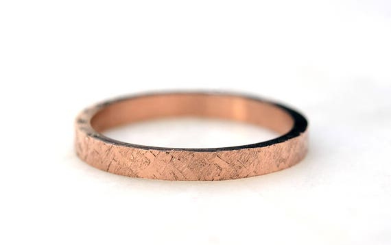Rose Gold Wedding Band-  Hammered Ring Women's 14k Rose Gold Ring -White Gold - Yellow Gold Stacking Rings -  Recycled Gold Eco Friendly Jew