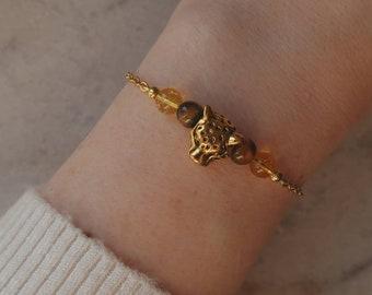 Tiger's eye and citrine bracelet, Leopard central bead, natural stone bracelet, EU-grade gold-plated steel