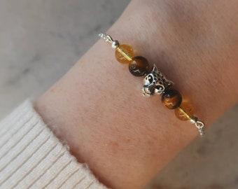 Tiger's eye and citrine bracelet, Leopard central bead, natural stone bracelet, EU-grade silver-plated steel