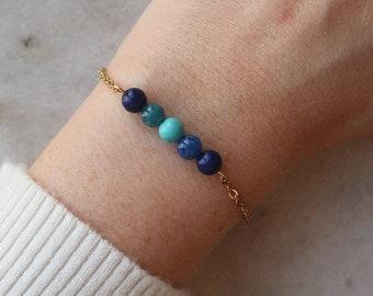Lapis lazuli, apatite, turquoise & blue agate bracelet, 5 stones, natural stone bracelet, EU-grade gold-plated steel