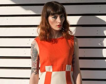 Orange Mod Dress, Space Age dress, Orange 60s dress, 1960s shift dress
