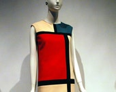Mondrian Dress, Mod Shift dress, 60s mini dress, A line dress with no sleeves, 1960s dress
