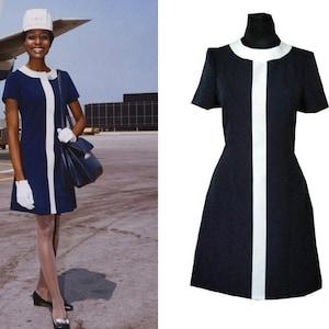 Vintage Style Dresses | Vintage Inspired Dresses 60s Stewardess Dress 2 tone vintage aviation dress Mod Shift dress 60s mini dress A line dress 1960s dress $160.00 AT vintagedancer.com