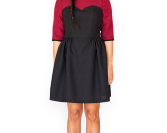Mod black burgundy mini dress sweetheart A line cute tea dress 60s 116e671ae