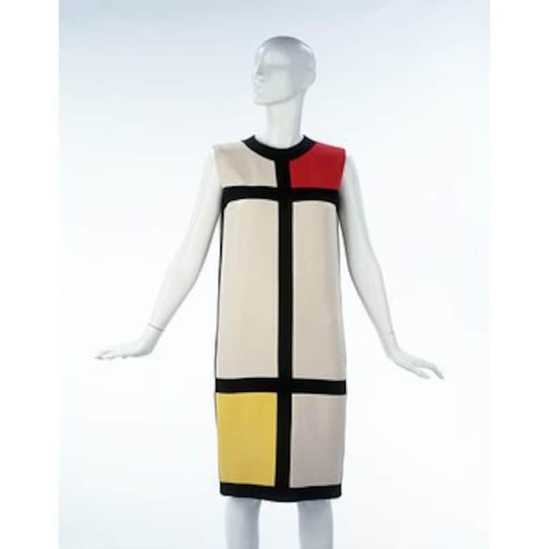 Mondrian dress Mod  dress 1960s dress Round collar dress image 1