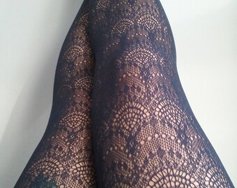 Navy blue tights stockings pantyhose suededead