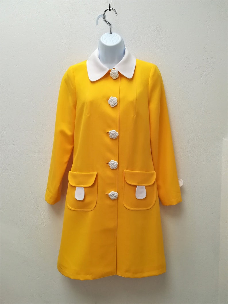 60s Dresses | 1960s Dresses Mod, Mini, Hippie Mod yellow dress coat 1960s dress coat yellow coat summer coat 1970s coat Retro coat $191.00 AT vintagedancer.com