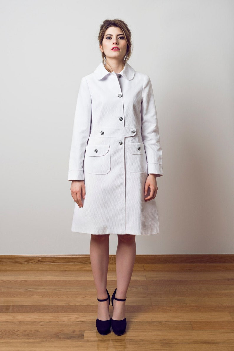 Vintage Coats & Jackets | Retro Coats and Jackets 60s white coat White summer coat mod coat pocket coat Audrey coat pique coat $301.00 AT vintagedancer.com