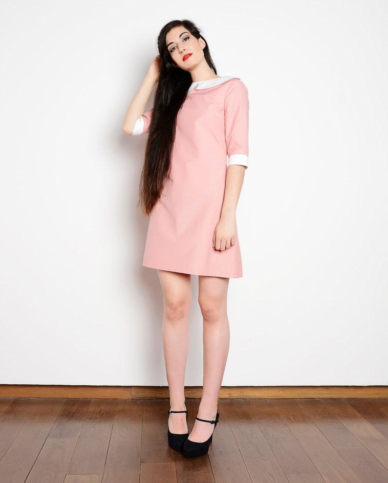 e7c409f398f Peter pan collar dress cotton pink white bishop mod 1960s