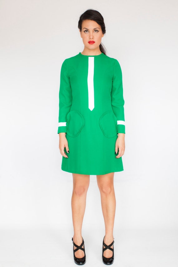 Green A line scooter dress retro 60s mod custom made  5e419f04d